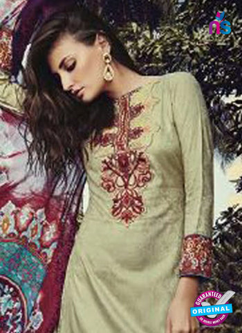 NS10202 Green and Maroon Party Wear Glace Cotton Jacquard Pakistani Suit Online