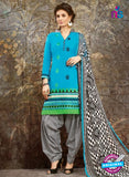 SC 13848 Sky Blue ans Black Glace Cotton Designer Fancy Exclusive Patiala Suit