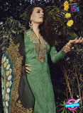 NS10203 Green and Beige Party Wear Glace Cotton Jacquard Pakistani Suit