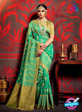 AZ 3633 Sea Green Cotton Silk Formal Saree