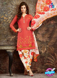 SC 13849 Orange and Beige Glace Cotton Designer Fancy Exclusive Patiala Suit