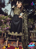 NS10204 Black and Beige Party Wear Glace Cotton Jacquard Pakistani Suit