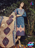 NS10205 Blue and Beige Party Wear Glace Cotton Jacquard Pakistani Suit