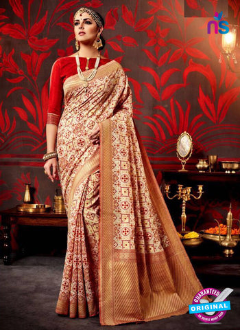 AZ 3634 Beige Cotton Silk Formal Saree