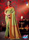 AZ 3636 Green Cotton Silk Formal Saree