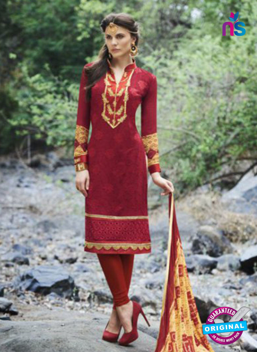 AZ 1071 Maroon and Yellow Faux Georgette Party Wear Suit