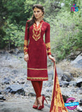 Bellisa 15009 Maroon and Yellow Faux Georgette Party Wear Suit