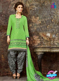 SC 13847 Green and Black Glace Cotton Designer Fancy Exclusive Patiala Suit