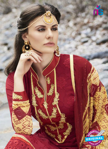Bellisa 15009 Maroon and Yellow Faux Georgette Party Wear Suit Online
