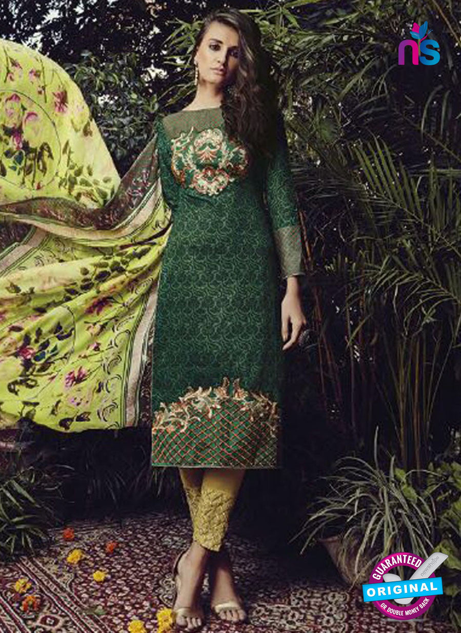 NS10208 Green and Yellow Party Wear Glace Cotton Jacquard Pakistani Suit