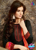 SC 13854 Black and Multicolor Glace Cotton Designer Fancy Exclusive Patiala Suit