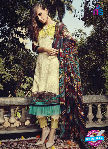NS10209 White and Yellow Party Wear Glace Cotton Jacquard Pakistani Suit