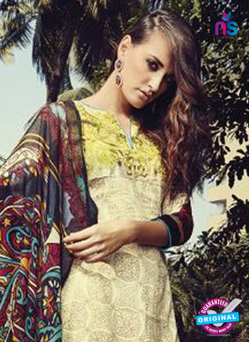 NS10209 Multicolor and Yellow Party Wear Glace Cotton Jacquard Pakistani Suit Online