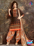 SC 13845 Brown and Multicolor Glace Cotton Designer Fancy Exclusive Patiala Suit