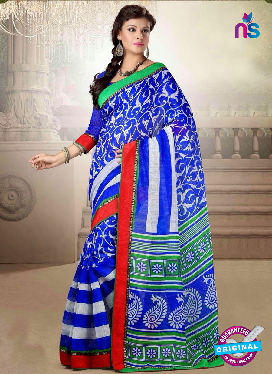 NS10770 Blue and White Cotton Designer Saree