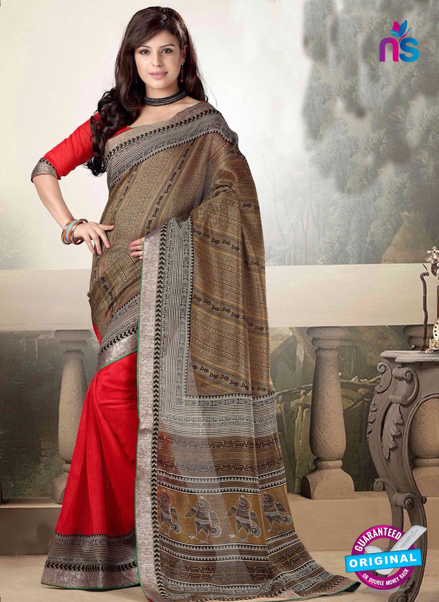 NS10771 Brown and Red Printed Cotton Designer Saree