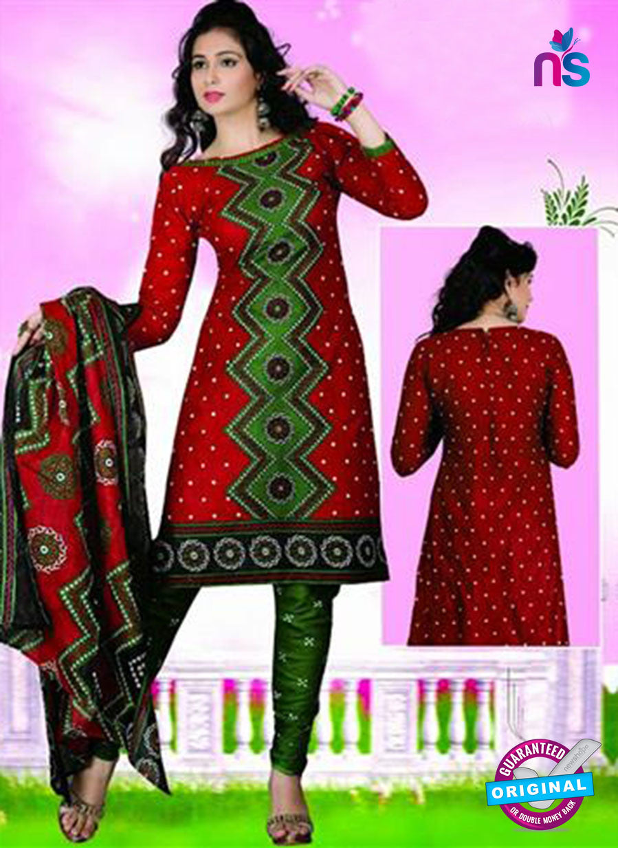 NS12115 Red and Green Chudidar Suit