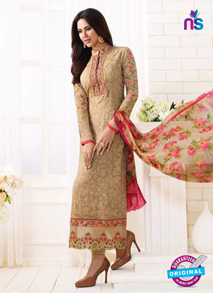 SC 13890 Beige Georgette Latest Designer Function Wear Fancy Long Straight Suit