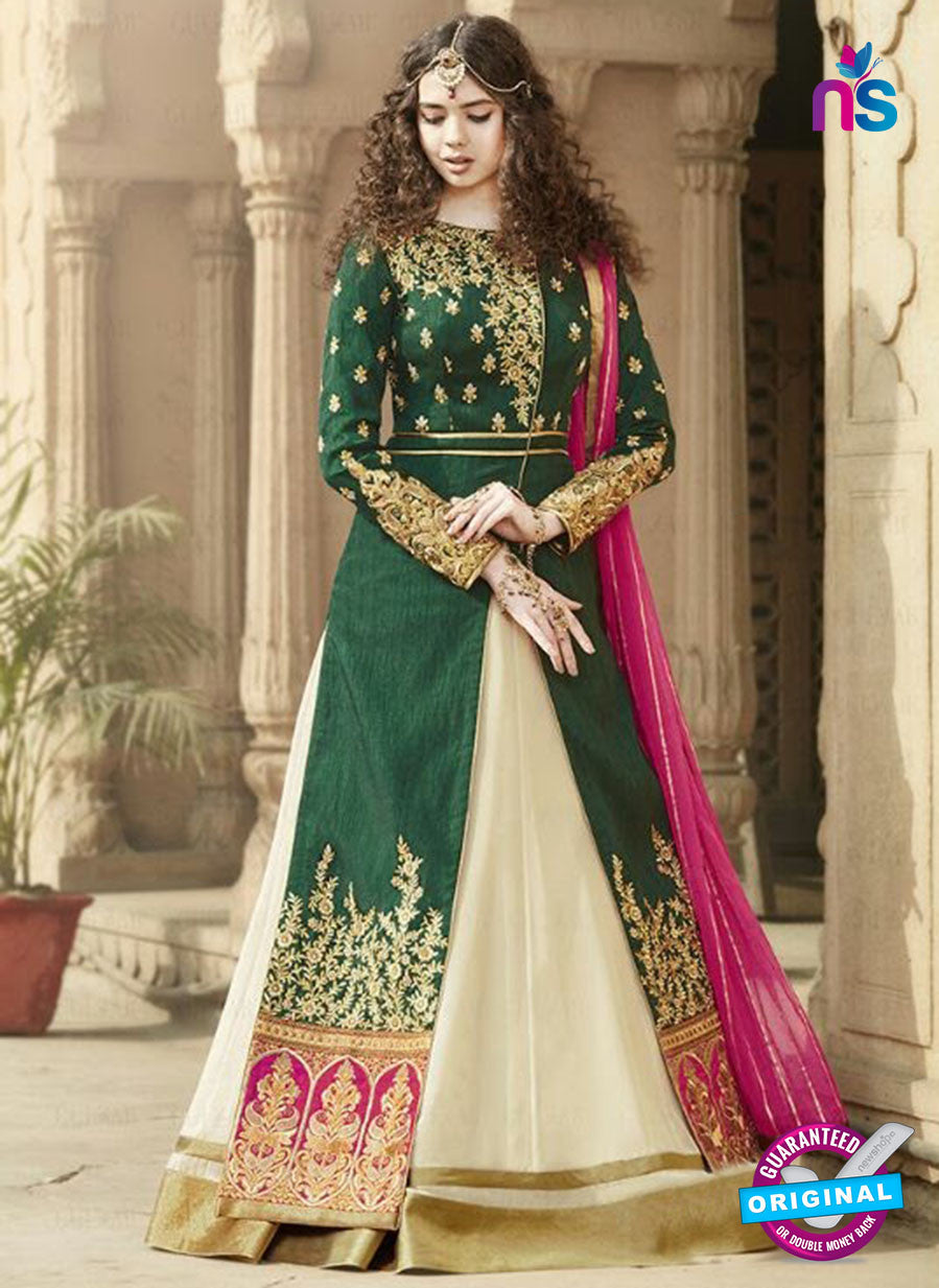SC 12900 Green, Pink and Beige Banglori Silk Party Wear Designer Gawn