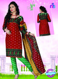 NS12117 Red and Green Chudidar Suit