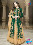 AZ 1075 Green and Beige Embroidered Banglori Silk Lehenga