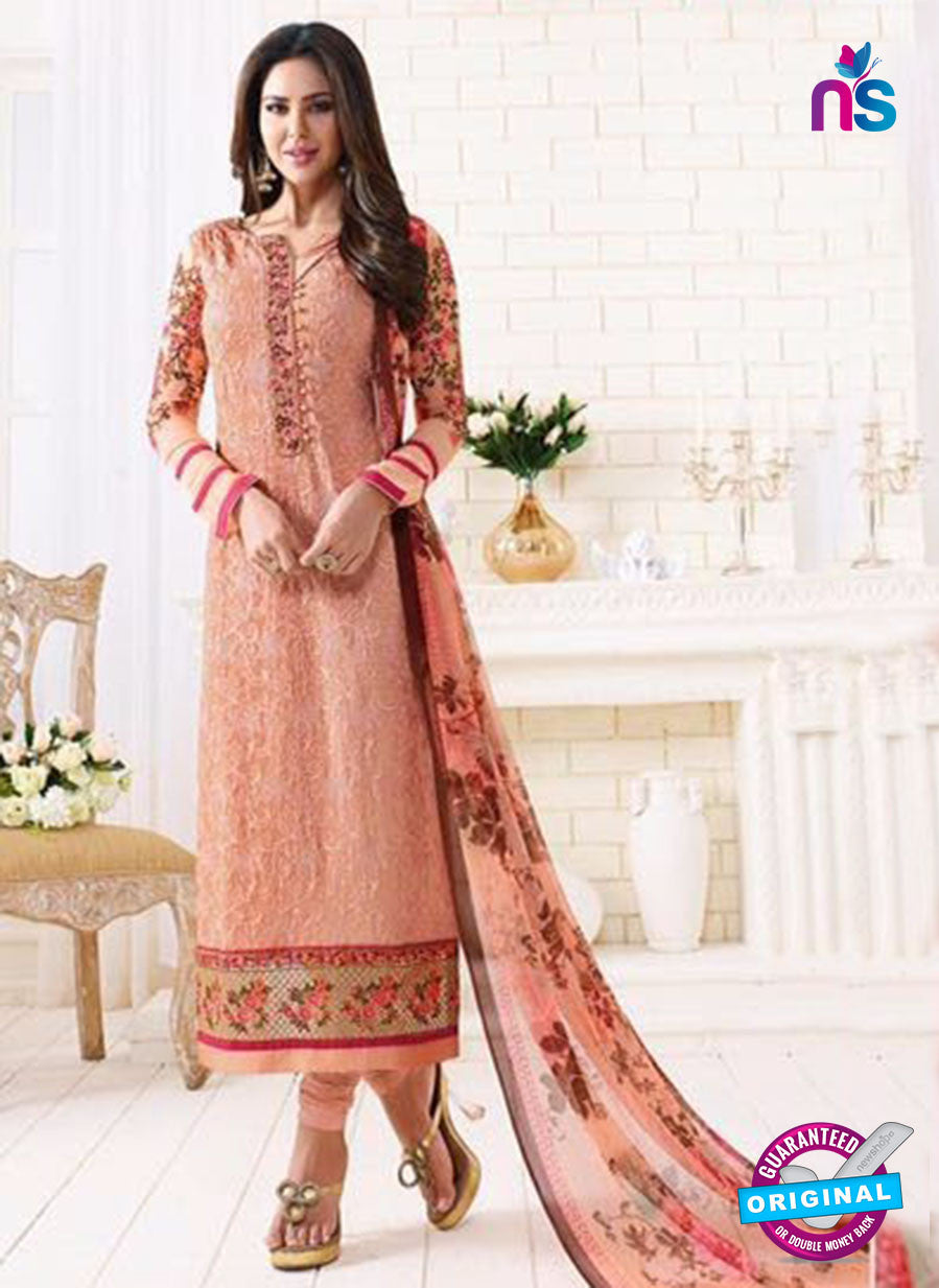 SC 13887 Peach Georgette Latest Designer Function Wear Fancy Long Straight Suit