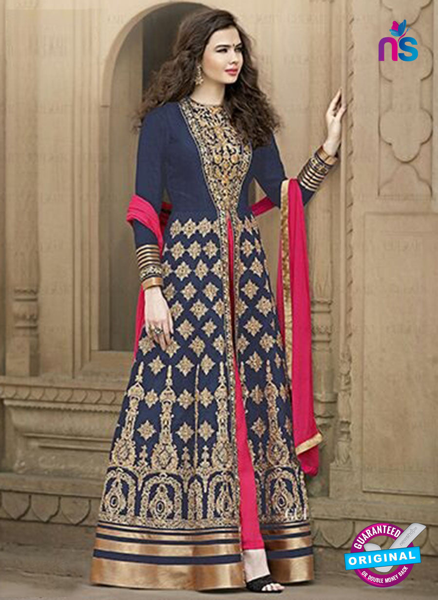 AZ 2178 Blue Embroidered Banglori Silk Party Wear Gawn