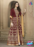 AZ 2181 Maroon Embroidered Banglori Silk Party  Wear Gawn