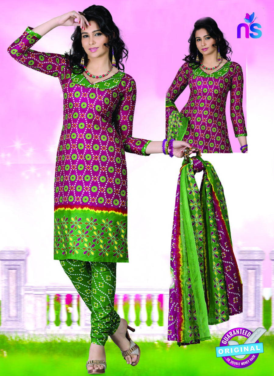 NS12118 Pink and Green Chudidar Suit