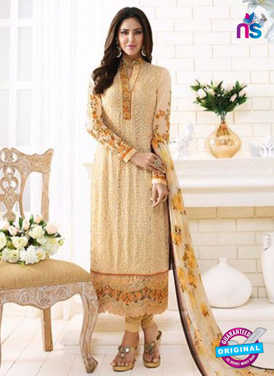 SC 13883 Beige Georgette Latest Designer Function Wear Fancy Long Straight Suit