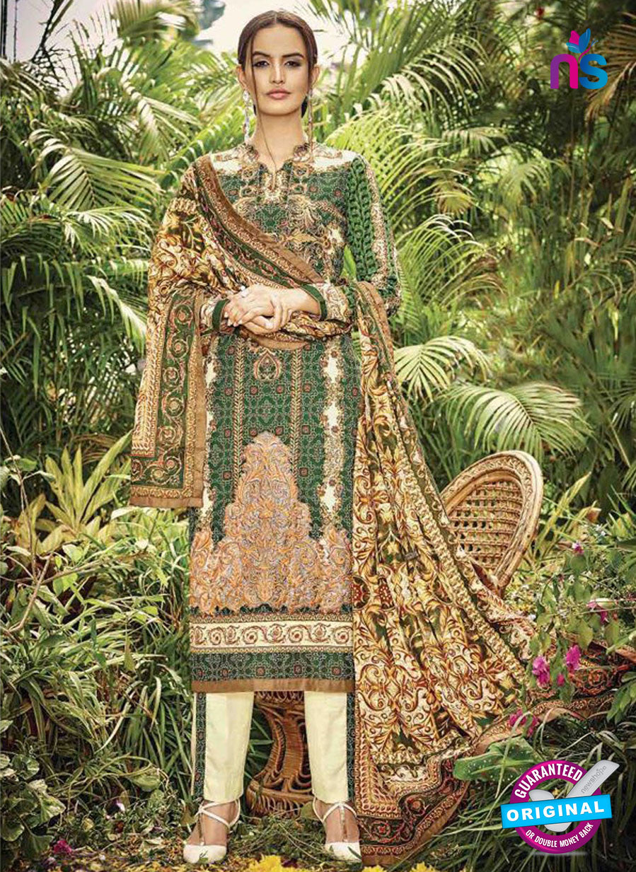 SC 13041 Green and Brown Embroidered Original Lawn Pakistani Suit