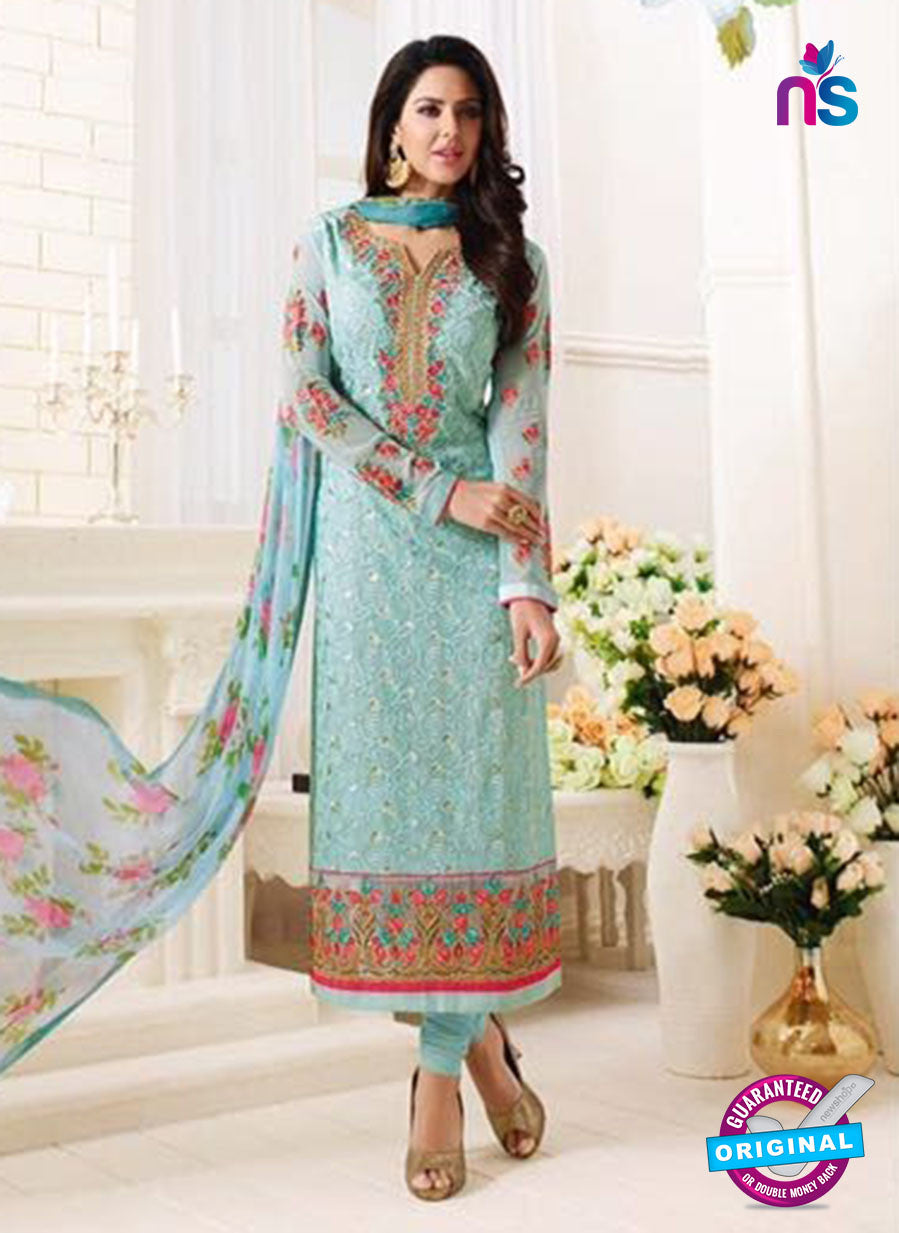 SC 13885 Sky Blue Georgette Latest Designer Function Wear Fancy Long Straight Suit