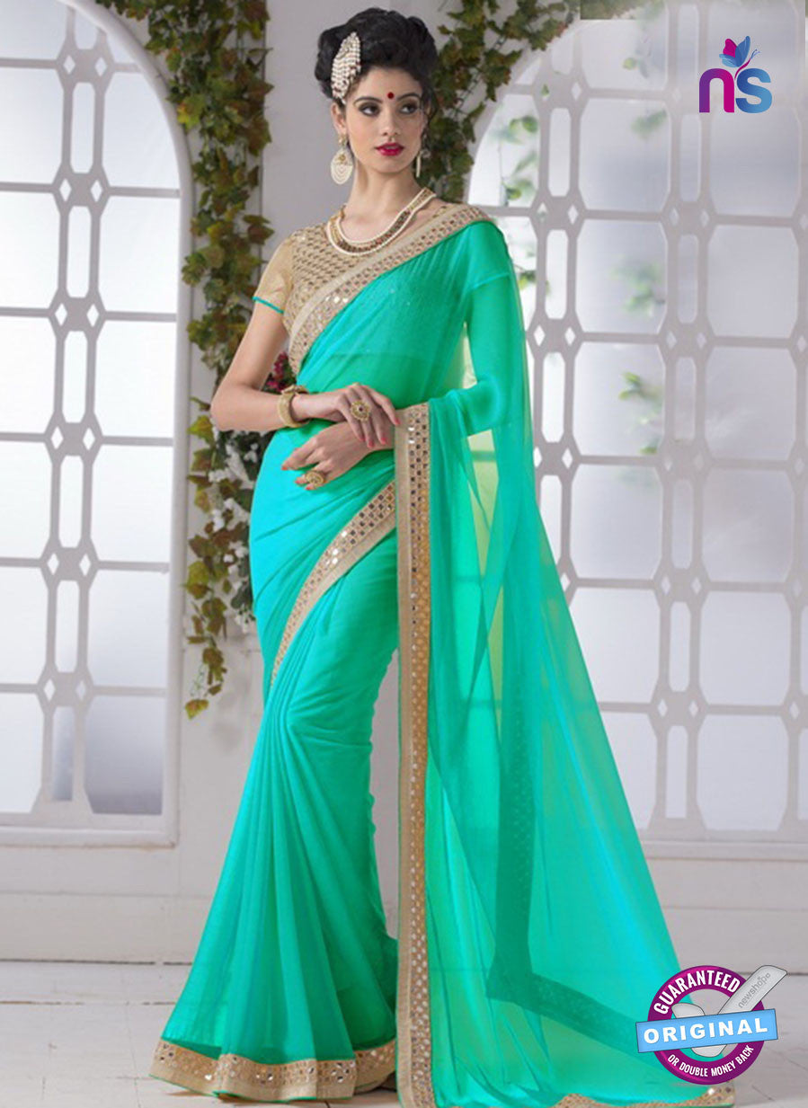 AZ 2194 See Green Fine Chiffon Party Wear Saree