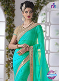 AZ 2194 See Green Fine Chiffon Party Wear Saree - Sarees - NEW SHOP