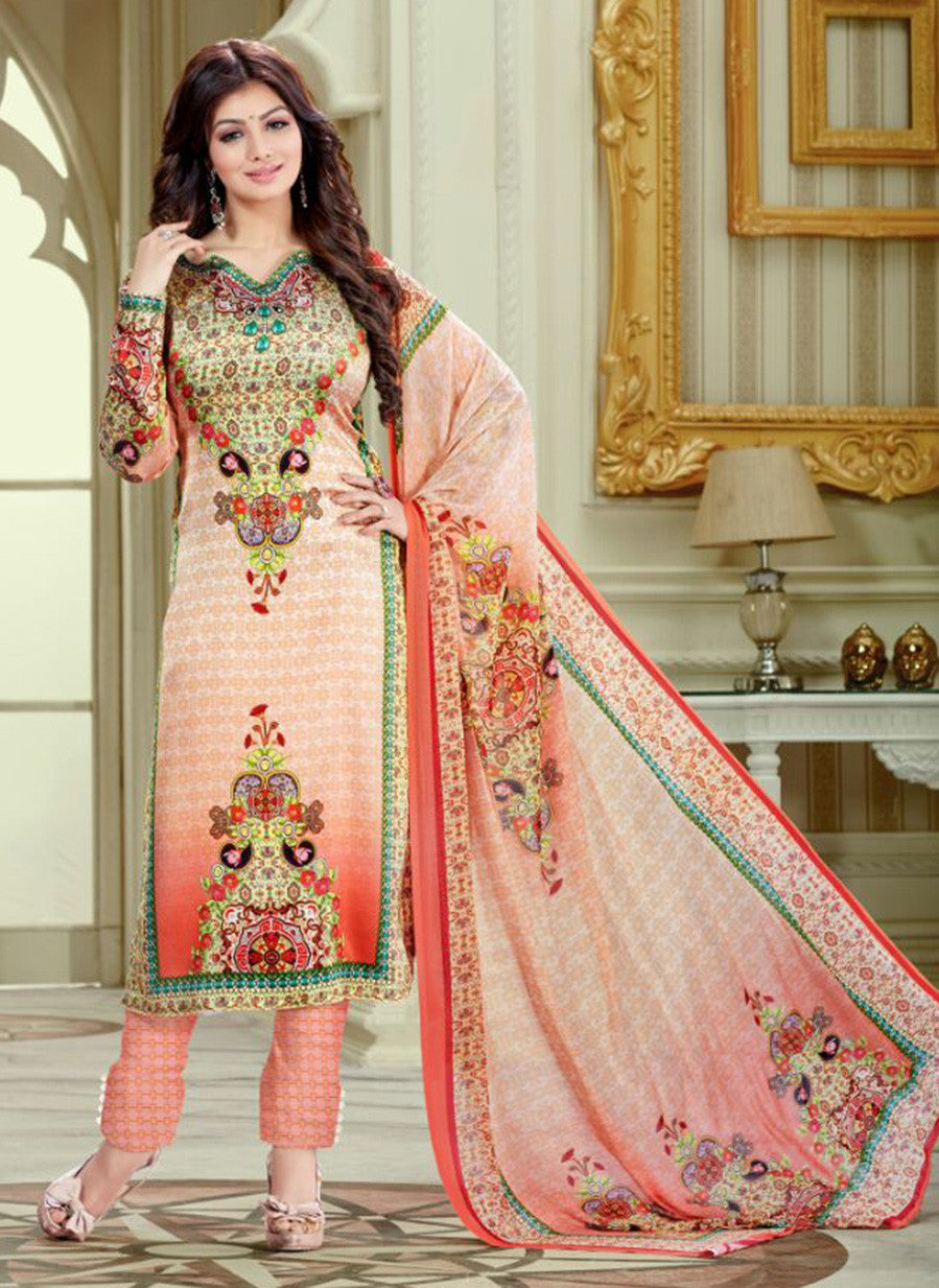 Haseen 1513  Peach Color Cotton Designer Suit