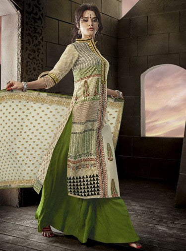 Jay Vijay 1513 Beige & Green Color Glace Cotton Designer Suit