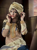 Jay Vijay 1514 Beige & Blue Color Glace Cotton Designer Suit