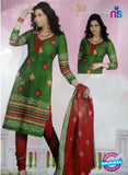 NS12123 Green and Red Chudidar Suit