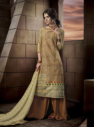 Jay Vijay 1515 Yellow Color Glace Cotton Designer Suit