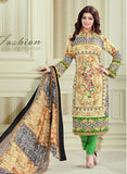 Haseen 1515  Green & Beige Color Cotton Designer Suit