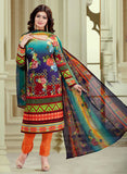 Haseen 1516  Orange & Multi Color Cotton Designer Suit