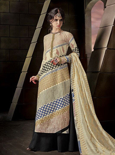 Jay Vijay 1517 Beige & Black Color Glace Cotton Designer Suit