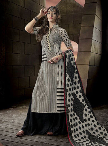 Jay Vijay 1518 Beige & Black Color Glace Cotton Designer Suit