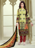 Haseen 1518  Brown & Green Color Cotton Designer Suit