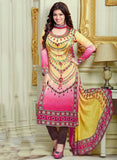 Haseen 1519  Pink & Yellow Color Cotton Designer Suit