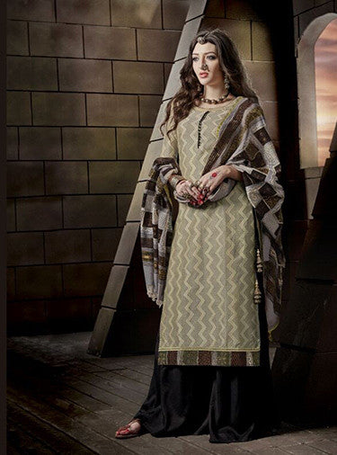 Jay Vijay 1520 Beige & Black Color Glace Cotton Designer Suit
