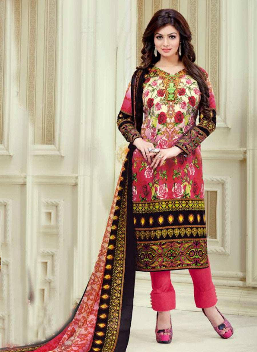 Haseen 1520  Red & Black Color Cotton Designer Suit