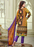 Haseen 1521  Purple & Multi Color Cotton Designer Suit