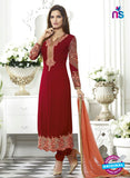 SC 13496 Maroon Embroiderd Georgette Designer Long Suit