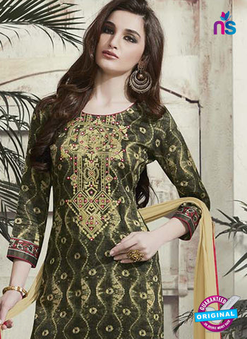 RT 15314 Mehandi Green Cotton Suit